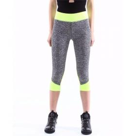 Pantaloni fitness da donna leggings bicolore lunghezza 3/4