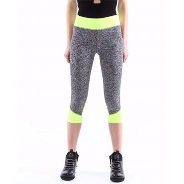 Pantaloni fitness da donna leggings bicolore lunghezza 3/4