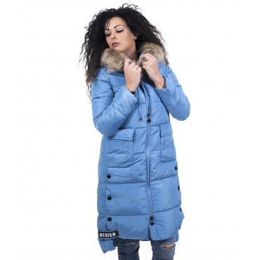 Piumino da donna lungo al ginocchio con cappuccio e pelliccia