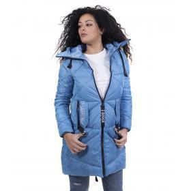 Piumino da donna fondo a coda di rondine con cappuccio colore azzurro