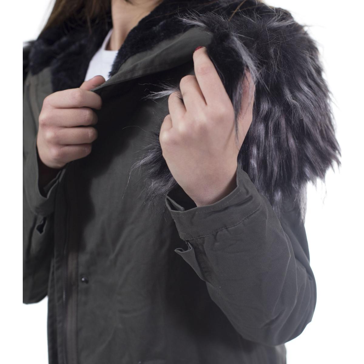 Giubbotto Parka con cappuccio in pelliccia - donna