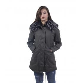 Giubbotto da donna stile Parka in cotone imbottito cappuccio con pelliccia