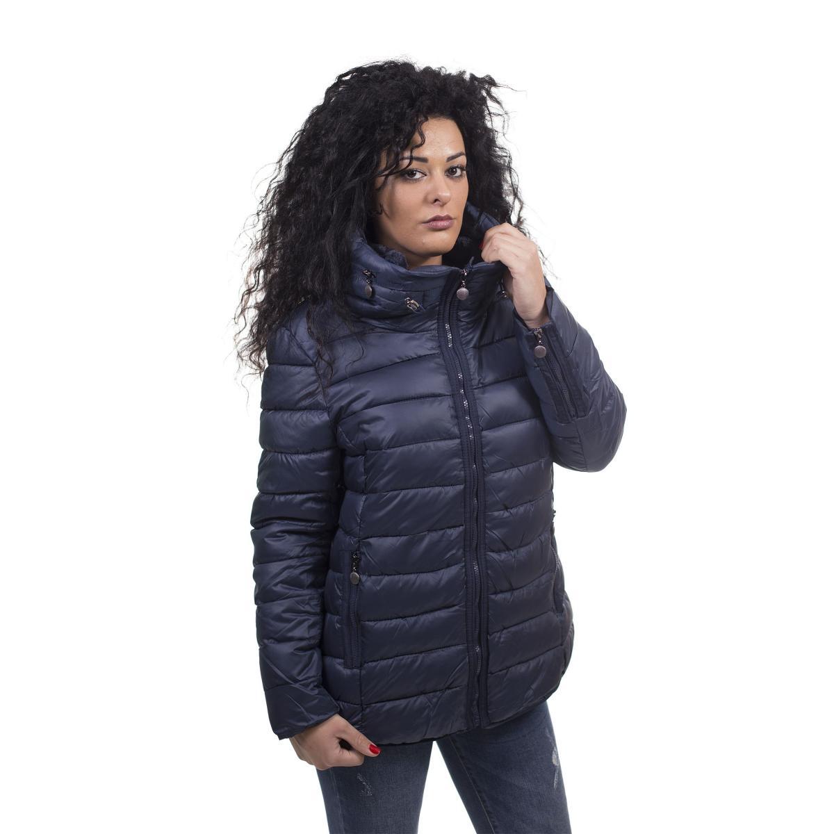 Piumino oversize con cappuccio estraibile e pelliccia removibile - donna