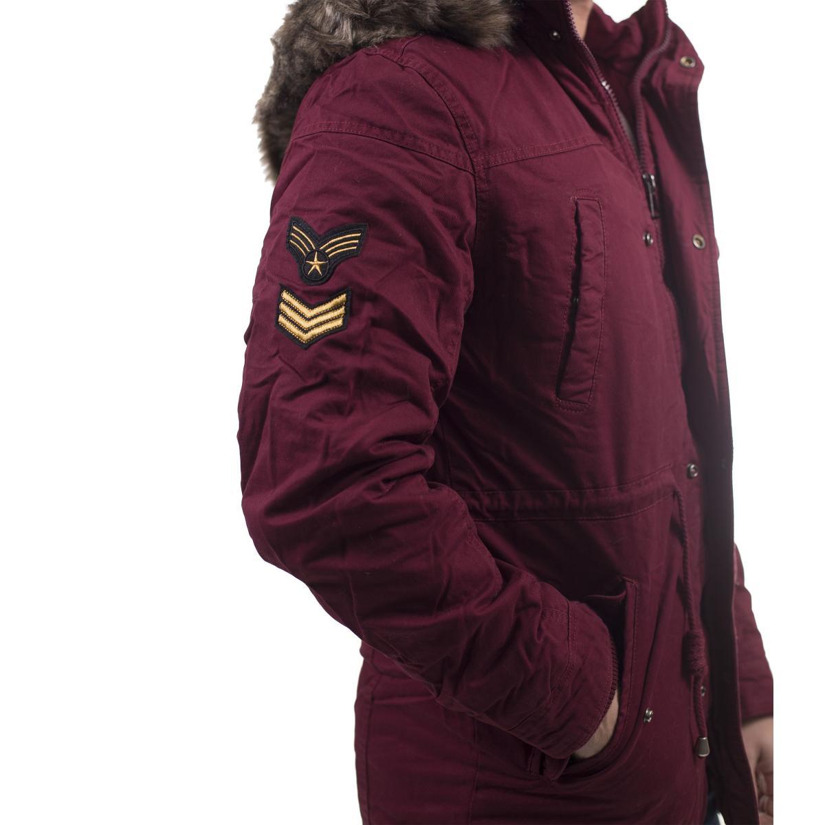 Giubbotto stile parka con cappuccio e pelliccia removibile - uomo