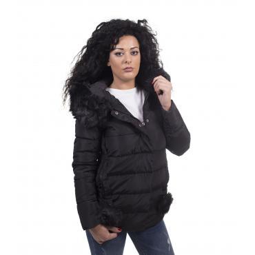 Piumino da donna trapuntato con cappuccio e pelliccia removibile