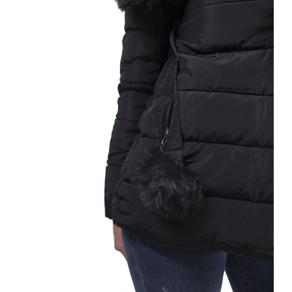 Piumino con cappuccio e pelliccia removibile - donna