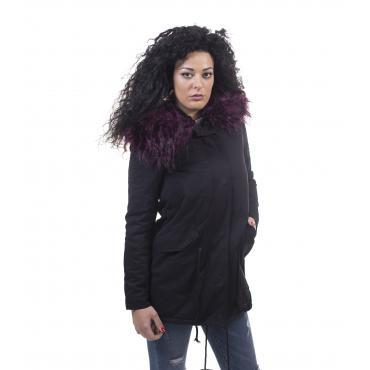 Giubbotto Parka da donna in cotone con cappuccio e pelliccia