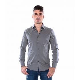Camicia da uomo slim fit casual in cotone elasticizzato