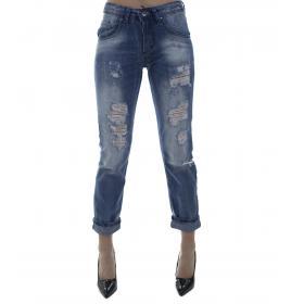 Jeans denim strappato - donna