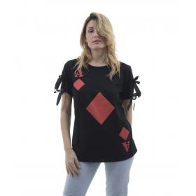 T-shirt con stampa asso - donna