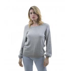 Maglia con perle applicate e scollatura sulla schiena - donna