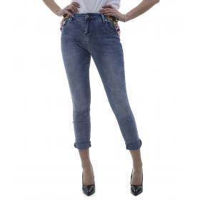 Jeans donna con bretelle rosa - donna