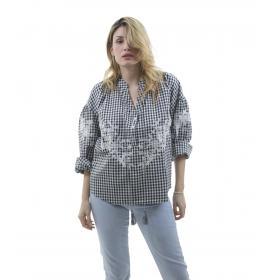Camicia a quadretti con ricami floreali - donna