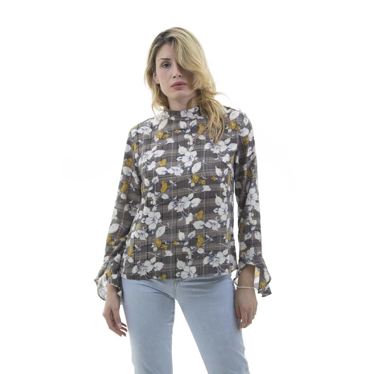 Camicia a quadroni con fantasia floreale - donna