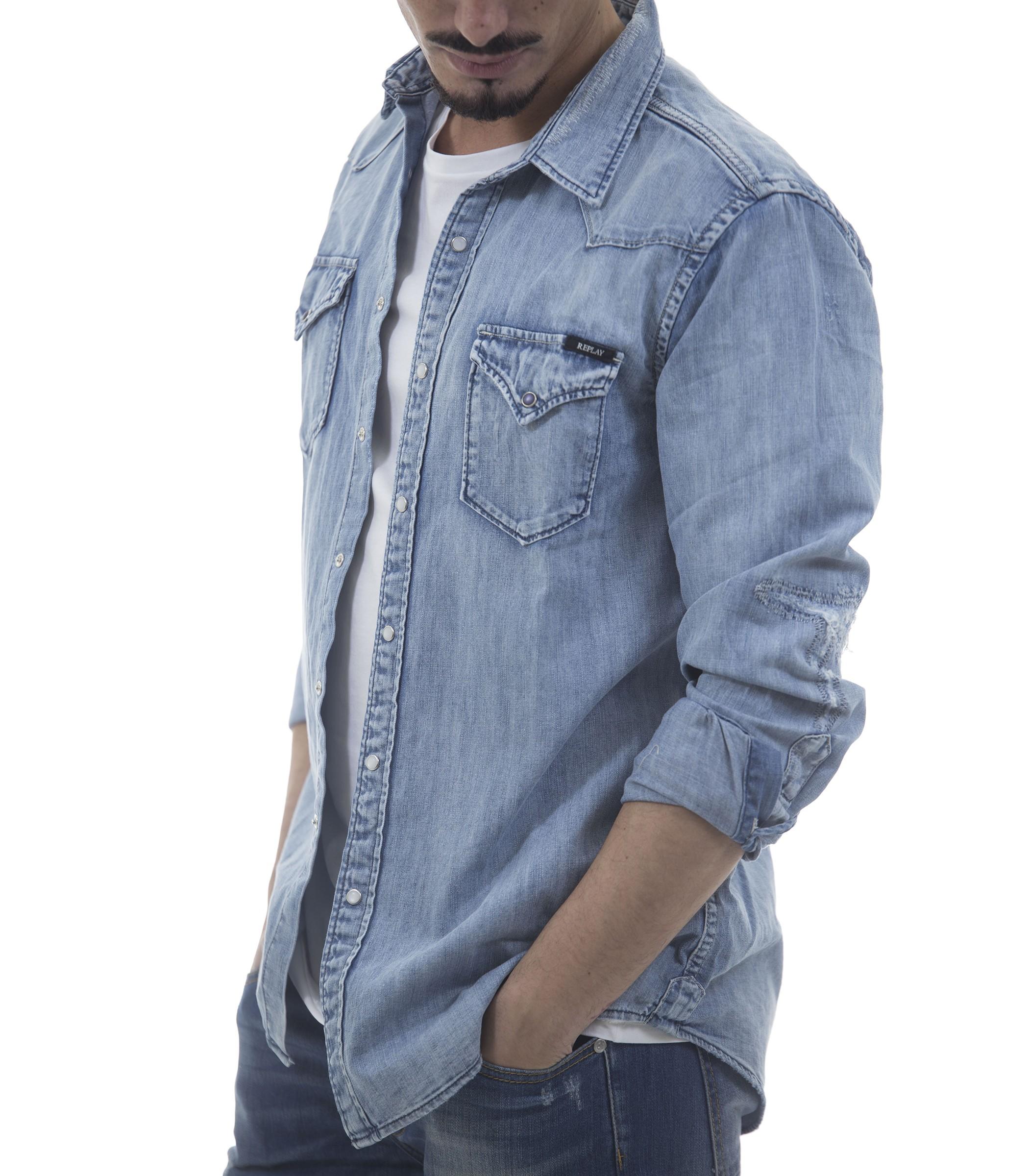 newest 5ef19 8fd96 Camicia di jeans Replay in tessuto denim da uomo - uomo www ...