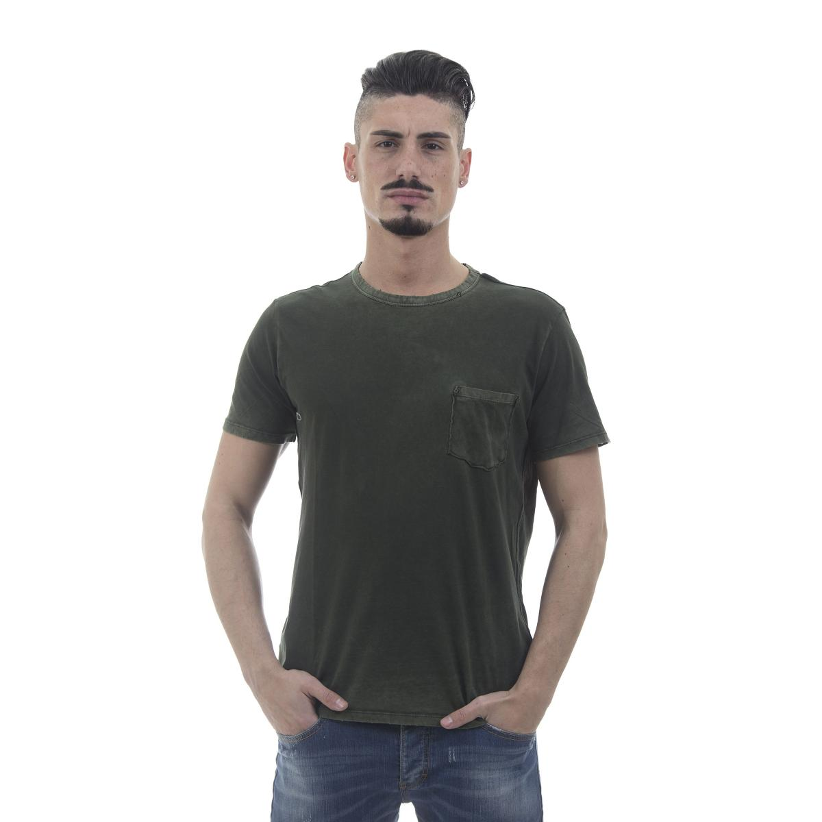 "T-shirt verde ""Replay"" con taschino al petto - uomo"