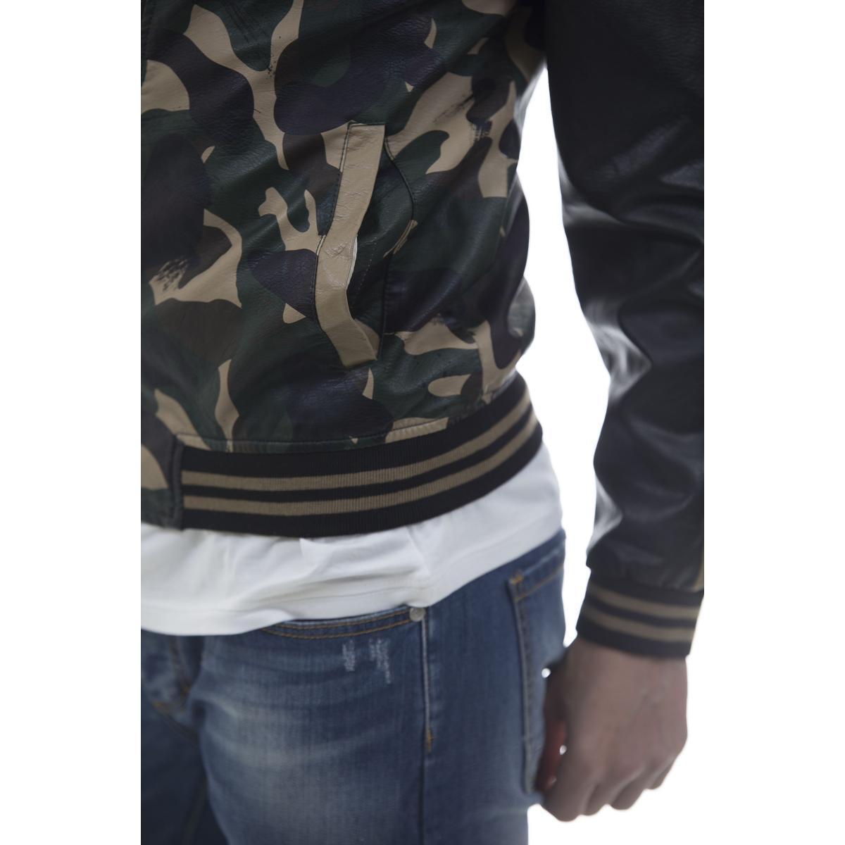Giacca giubbotto ecopelle camouflage nero - uomo