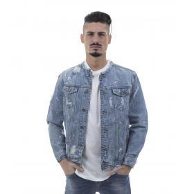 Giacca giubbotto di jeans denim blu effetto sbiadito - uomo