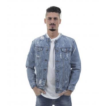 Giacca giubbotto di jeans denim blu effetto consumato - uomo