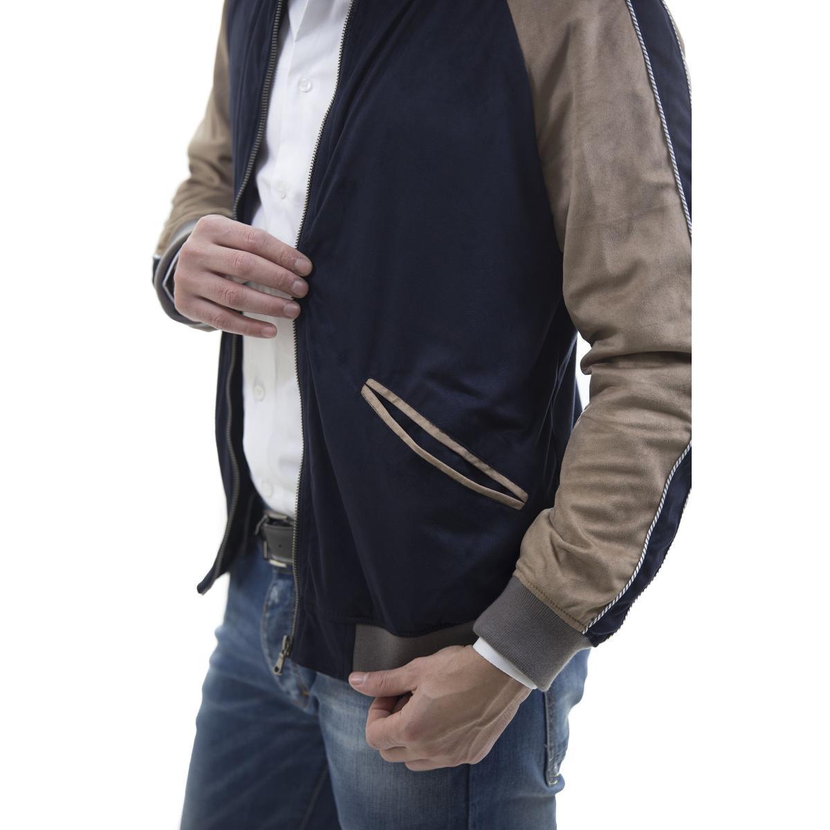 Giacca giubbotto camoscio bicolore - uomo