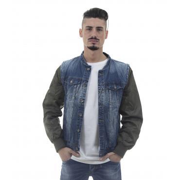 Giubbotto smanicato di jeans con maniche removibili - uomo