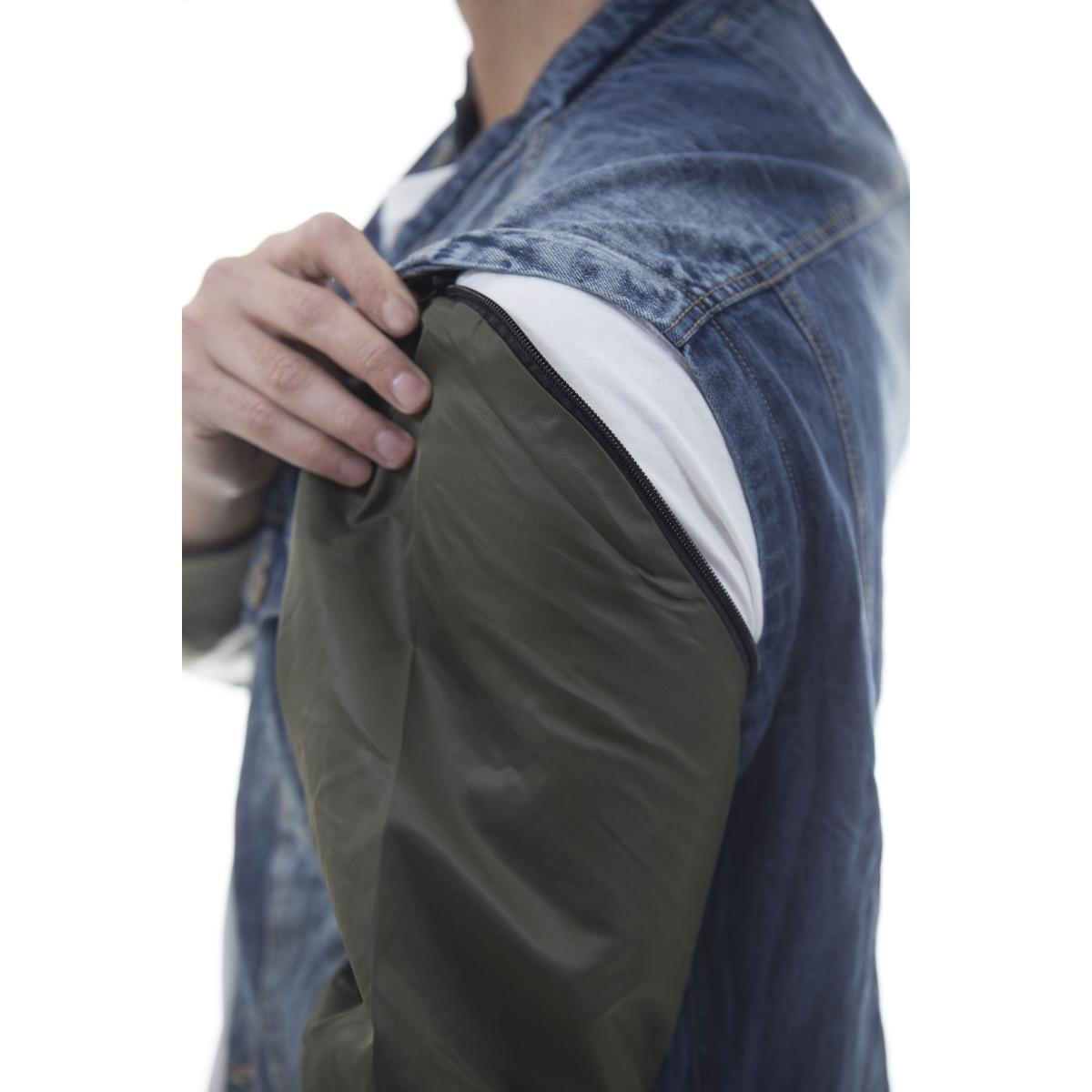 Giubbotto denim jeans con maniche removibili - uomo