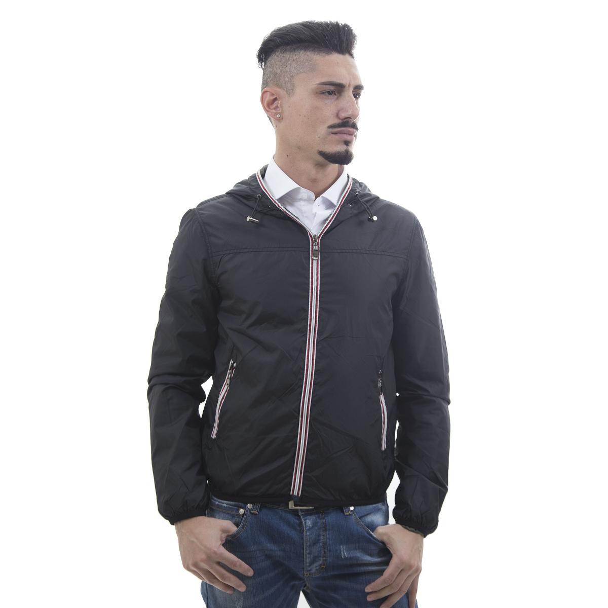 Giubbotto k-way con cappuccio per mezze stagioni - uomo