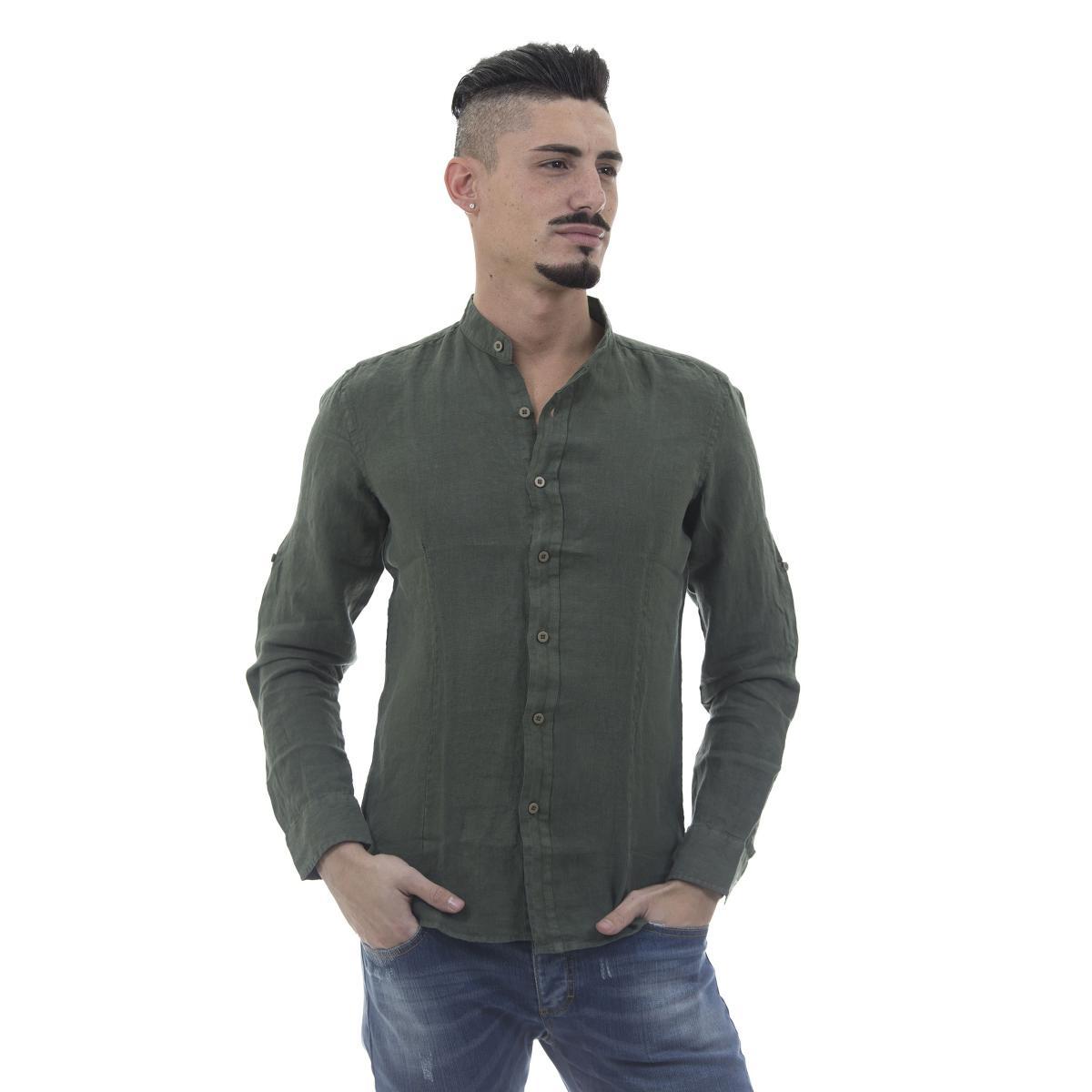 Camicia puro lino con collo coreana - uomo