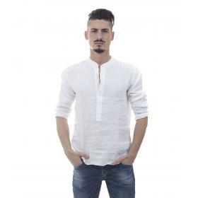 Camicia in puro lino con collo coreana - uomo