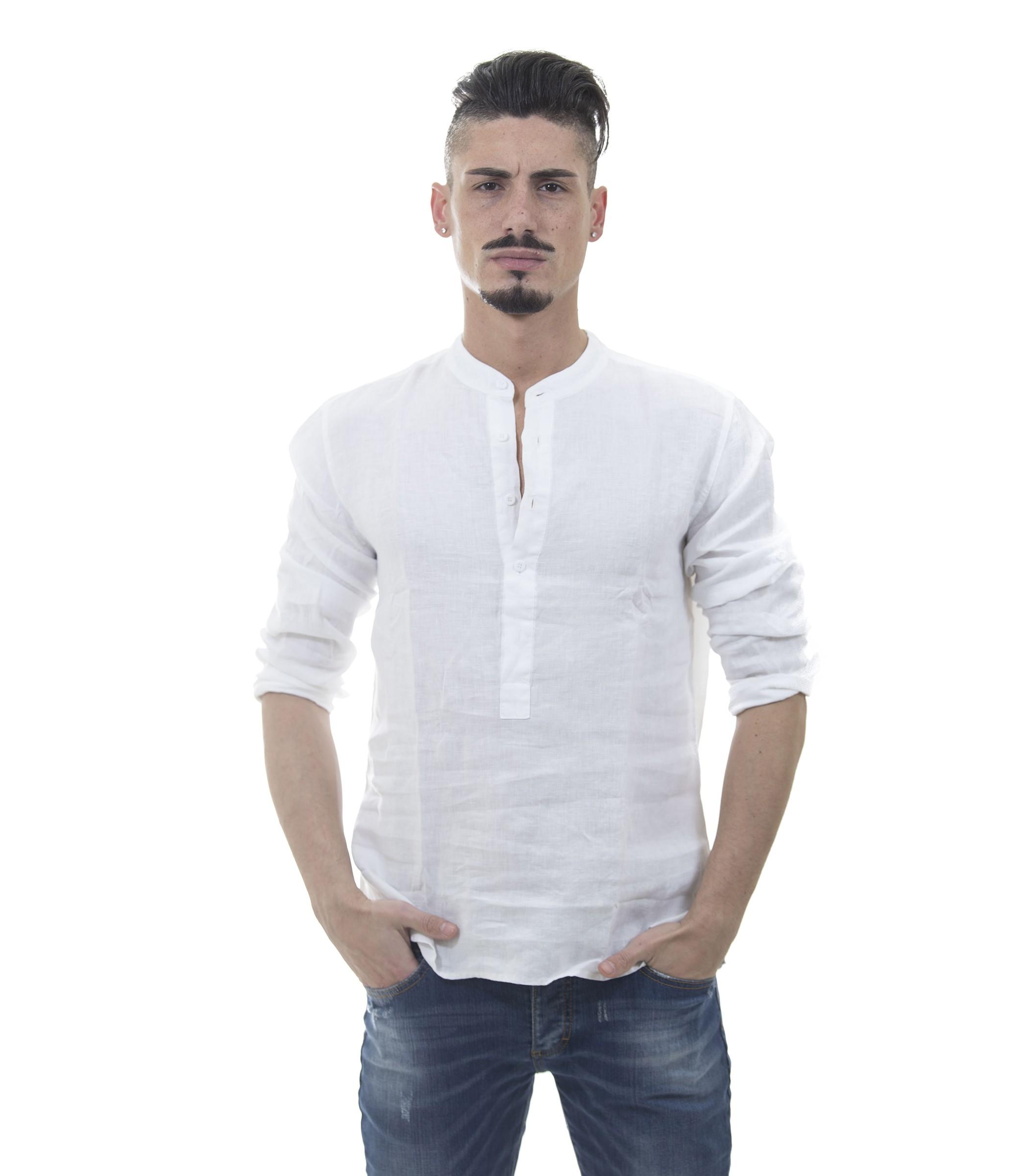 7418b96482 Camicia casacca puro lino con collo coreana - uomo www.montorostore.it