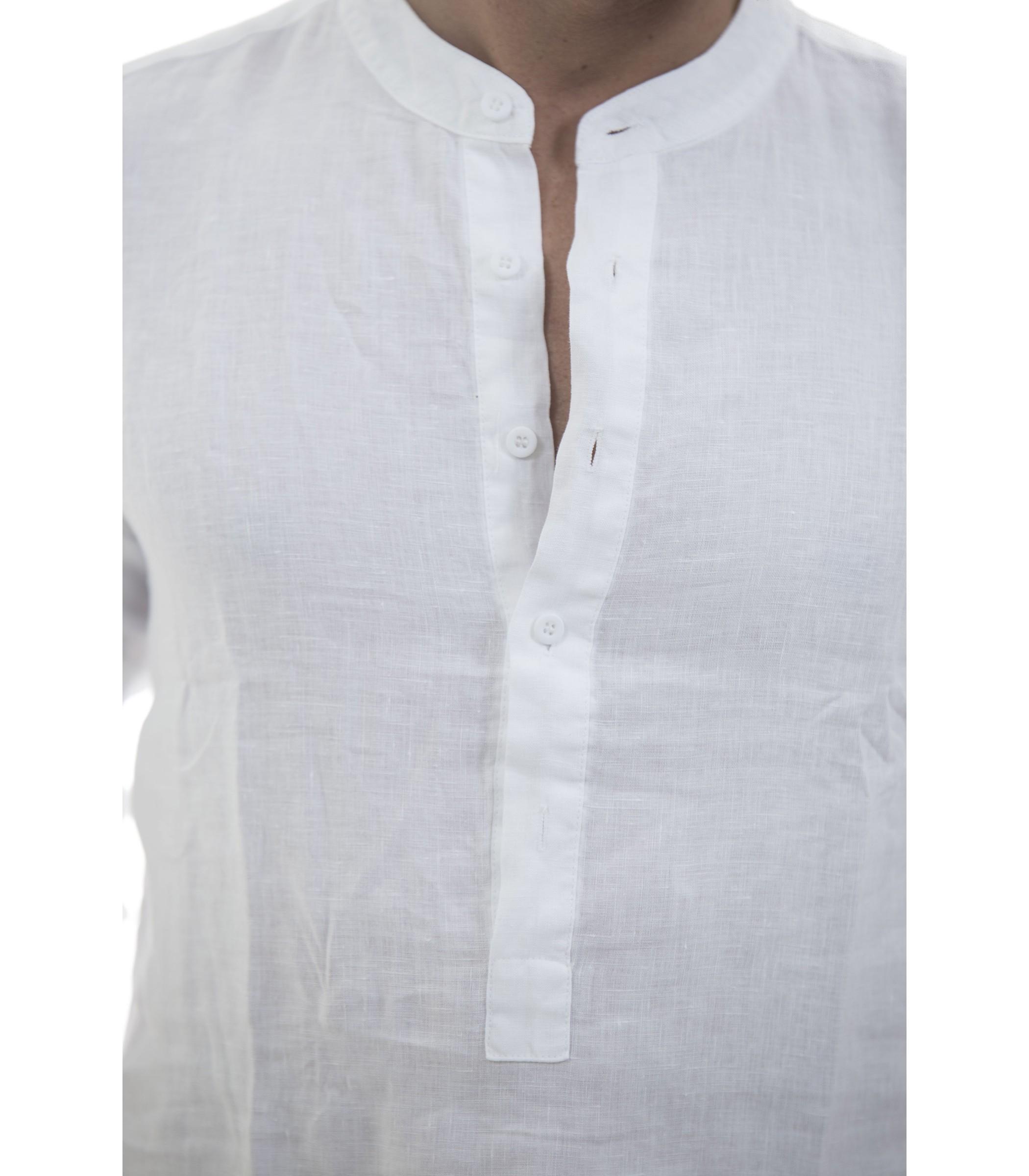 info for 4040f 0dbec Camicia casacca puro lino con collo coreana - uomo www ...