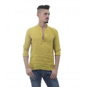 Camicia casacca puro lino con collo coreana - uomo