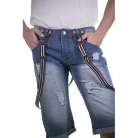 Bermuda di jeans da uomo con bretelle - rif.MK3022