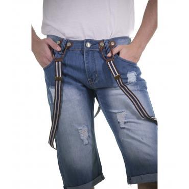 Bermuda di jeans con bretelle da uomo - rif.MK3022
