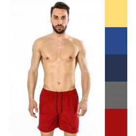 Costume da bagno da uomo bermuda tinta unita con striscia bianca