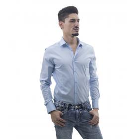 Camicia da uomo slim fit tinta unita a maniche lunghe