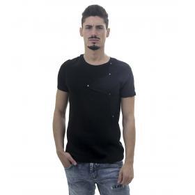 T-Shirt da uomo effetto crespo con toppa a stella e borchie