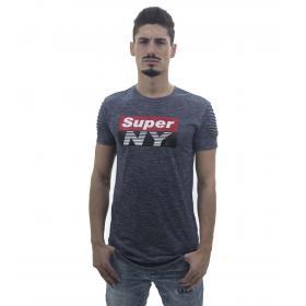 T-Shirt da uomo in jersey con stampa e plissè sulle maniche