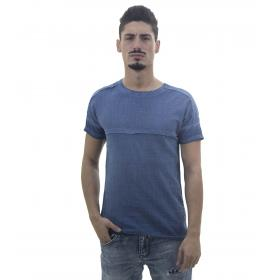 T-Shirt da uomo con cuciture sfrangiate in rilievo ed effetto crespo