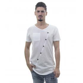 T-Shirt da uomo con con taschino fondo arrotondato e bottoni