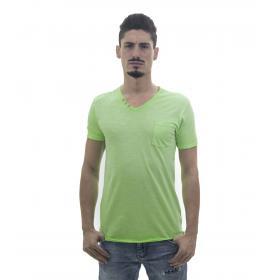 T-Shirt da uomo con taschino in puro cotone tessuto jersey e scollo a V DESC OK