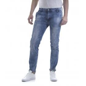 Pantaloni Jeans da uomo tasche america in denim blu scolorito