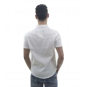Camicia da uomo a maniche corte in tessuto crespo con taschino e bottoni multicolore