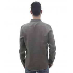 Camicia da uomo in puro lino a maniche lunghe con taschino
