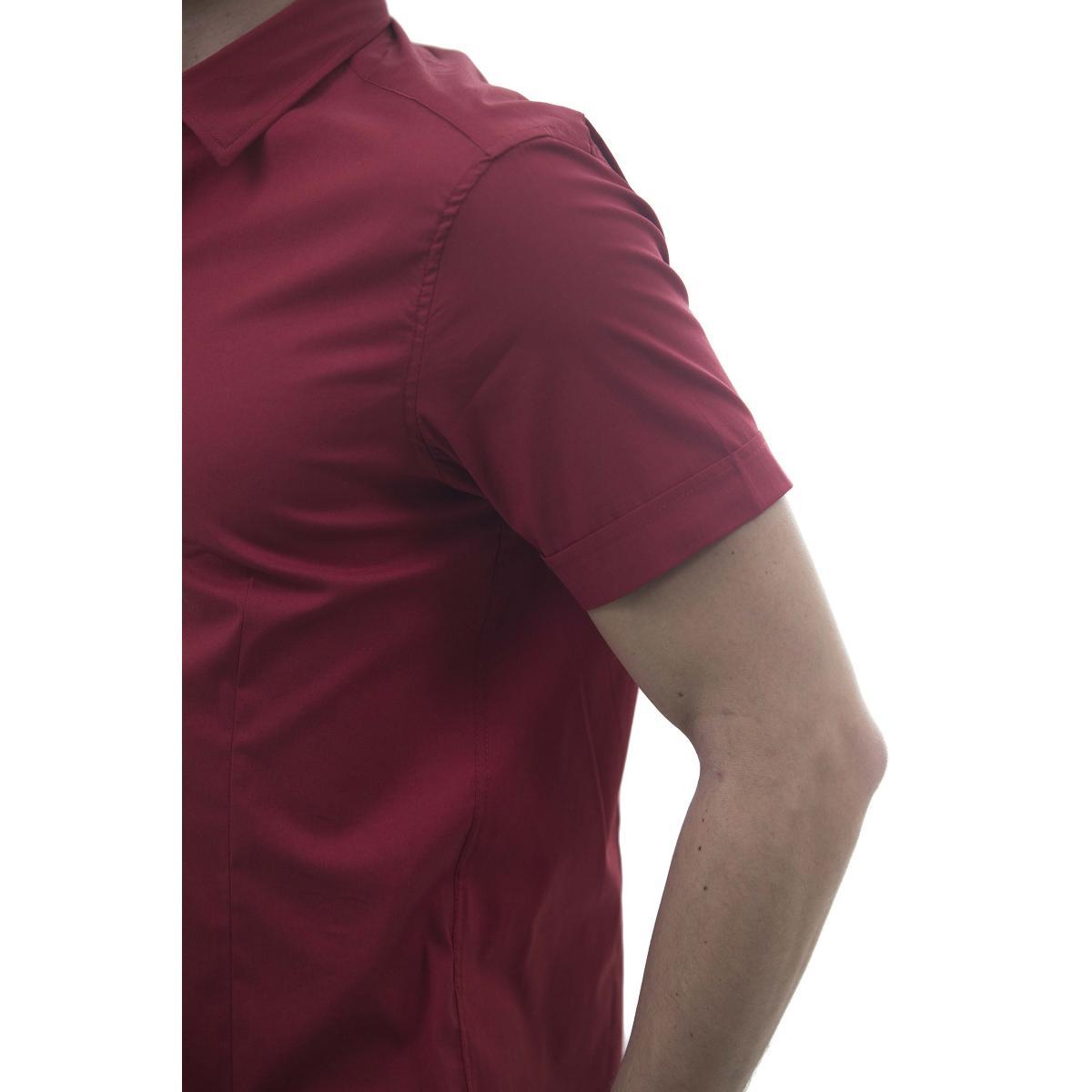 Camicia da uomo a maniche corte tinta unita con cannoncino a contrasto