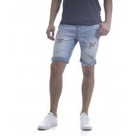 Pantaloncino bermuda di jeans da uomo denim 5 tasche con strappi