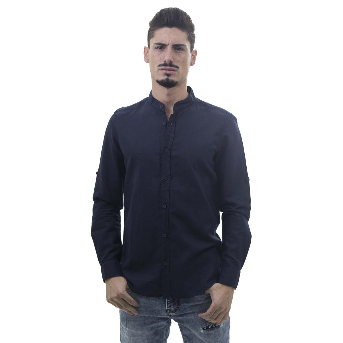 Camicia da uomo a maniche lunghe misto lino con collo alla coreana desc ok