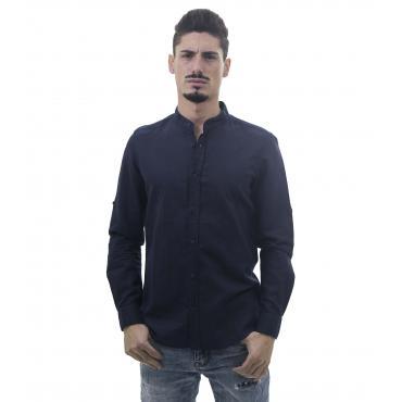 Camicia da uomo a maniche lunghe misto lino con collo alla coreana