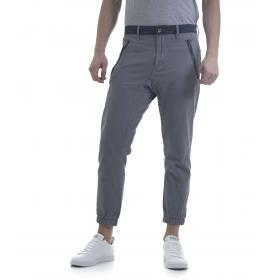 Pantaloni jeans da uomo tasche america in misto lino con dettagli in denim