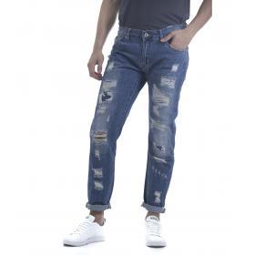 Pantaloni Jeans da uomo in denim 5 tasche con strappi
